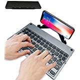 Foldable Bluetooth Wireless Keyboard With USB Ultra Slim Rechargeable Folding Bluetooth Keyboard Aluminium Base With Built In Stand For All Windows IOS Mac OS Android Tablet Smartphone TV Box
