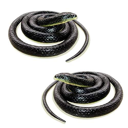 ealistische Gefälschte Gummispielzeug Schlange Schwarz Gefälschte Schlange Lange Simulation Schlange Ganze Person Lustige Unterhaltungsspielzeug ()