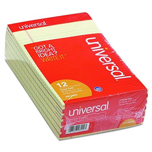 Legal Pads (Universal 46200Lochrand Schreibblock, schmal, Rule, 5x 8, CANARY, 50Blatt (12Stück))
