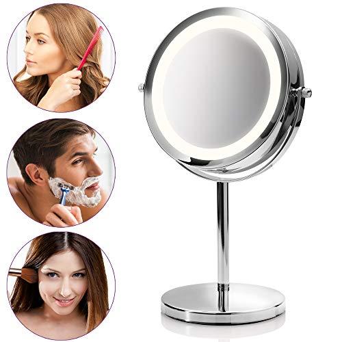 *Medisana CM 840 runder Kosmetikspiegel – Tischspiegel mit LED-Beleuchtung und 5-facher Vergrößerung – Schminkspiegel mit 360° Schwenkfunktion – 88550*