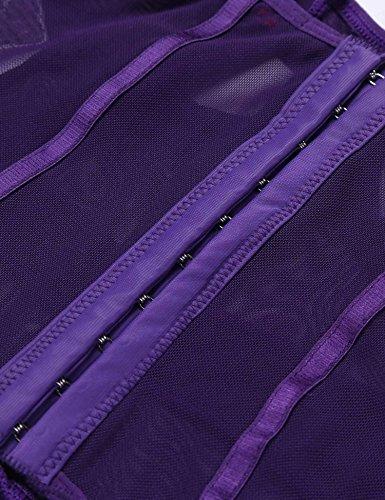 Avidlove Damen Erotik Dessous Set V-Ausschnitt Netz Unterwäsche Reizwäsche mit Strumpfhaltergürtel Hot Korsagen & Bustiers Push-up Nachtwäsche Violett