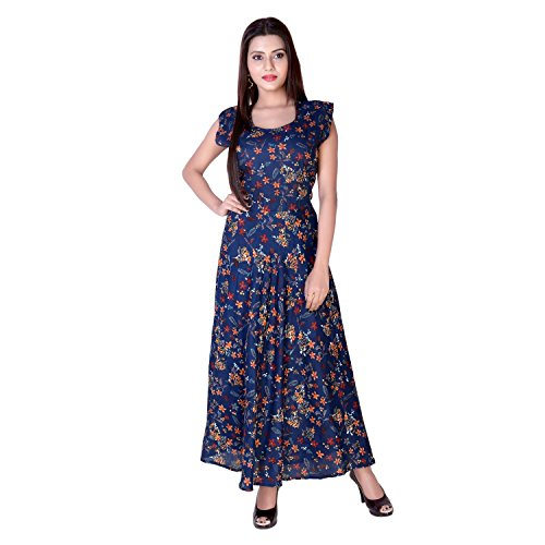 BS Exports Party Wear Rayon Printed Maxi Dress for Women in Free Size (up to 42 L Size) (Multicolour)