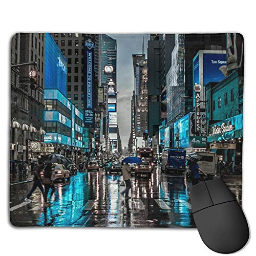 Mouse Pad New York Street Shopping Rectangle Rubber Mousepad 8.66 X 7.09 Inch Gaming Mouse Pad with Black Lock Edge