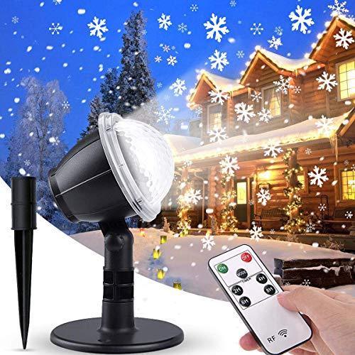 IREGRO LED Schneeflocke Projektor, Weihnachten Projektor Außen, Projektorlampe Schneeflocke mit Fernbedienung und Timer, Innen und Außen Dekoration für Weihnachten/Hochzeit/Party/Valentinstag