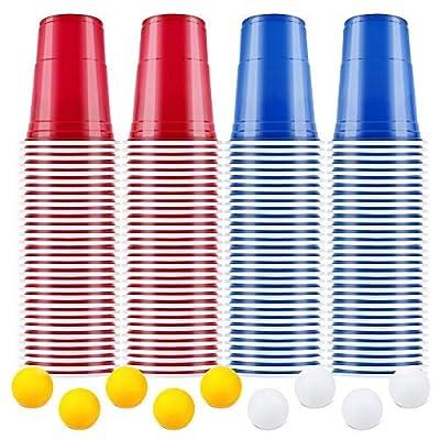 AOLUXLM Gobelets en Plastique, Gobelets jetables, Coupes de fête, Bière Pong Gobelets