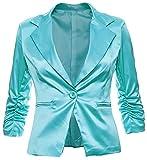 Eleganter Damenblazer Blazer Baumwolle Jäckchen Business Freizeit Party Jacke in 26 Farben 34 36 38 40 42, Farbe:Türkis Metallic;Größe:XL-42