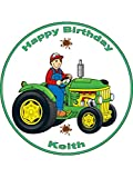 Traktor, personalisierbar, essbar, Kuchendekoration, Premium, 7.5) (, 7,5