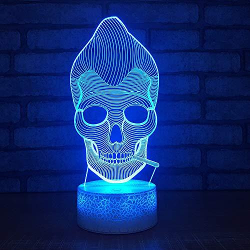2018 neue halloween 3d nachtlicht kreative sieben farbe maske led lampe new phantasie produkt großhandel 3d leuchten