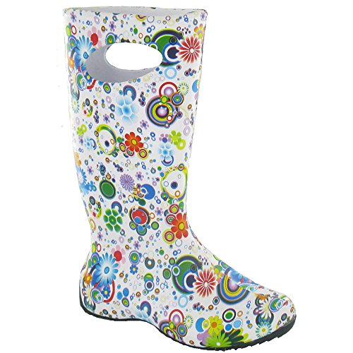 Cotswold donna carnevale Flower Patterned Welly stivali verde Circle
