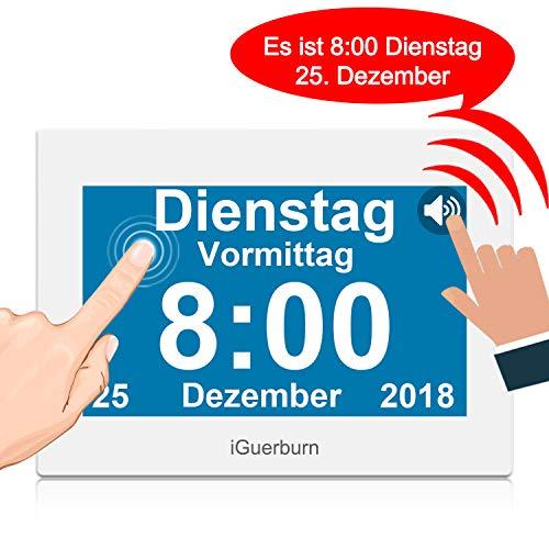 """iGuerburn Digitaler Sprechende Kalender Touchscreen Wecker Tag mit 8"""" Großer Bildschirm für Demenz, Alzheimer, Senioren / 6 Sprachen, Sprecher Funktion & Ärzte Erinnerung (Weiß)"""