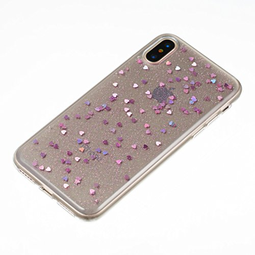 iPhone X Coque TPU Full Body,iPhone X Case Crystal Clear,Hpory Beau élégant Luxury [Full Body] [Tactile 360 Degrés] Ultra Thin Transparent Soft TPU Gel Silicone Cristal Clair Etui Housse de Protection Loveheart,Light purple