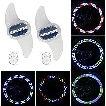 Tagvo Bike Spoke Light, 2 Pack 7 LED Luz de la rueda de bicicleta Luz de cola trasera Luz de señalización de seguridad en bicicleta - Luz de destello colorida, 30 tipos de cambio de patrones