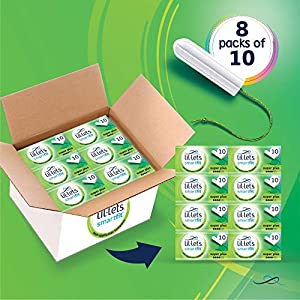 Lil-Lets SmartfitTM Non-Applicator Tampons | Super Plus | 80 Tampons | 8 Packs of 10