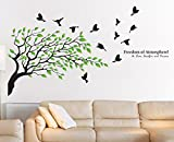 #7: Happy Walls Bird Fly From the Breeze of Tree Leaves décor Wall {85x150cm}