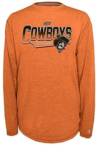 NCAA Oklahoma State Cowboys Men's Earn It Long Sleeve Tee, Large, Knights Orange Heather