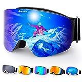 Avoalre Occhiali da Sci Occhiali Goggle Antinebbia Uomo Donna Unisex Maschera da Sci UV400 Protezione OTG Snowboard Neve Specchio Cintura Regolabile Adulto Occhiali Ski Blue