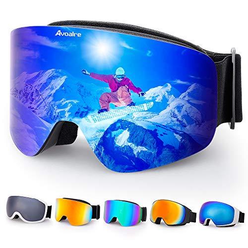 Avoalre Skibrille Damen Herren Snowboardbrille UV-Schutz rahmenlose Linse Ski-Schutzbrillen Verbesserte Belüftung für Motorrad Skifahren Skaten Wintersport (Blau)