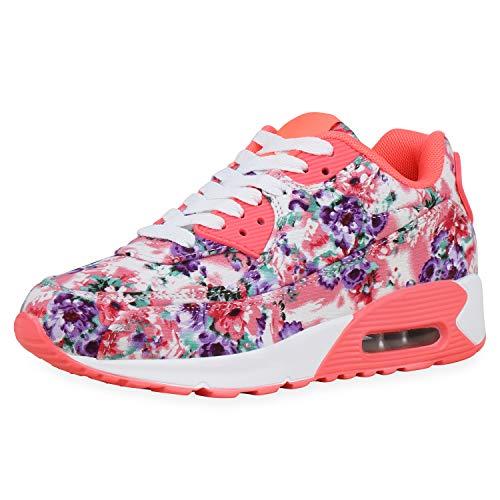 SCARPE VITA Damen Laufschuhe Sportschuhe Blumen Print Schuhe Fitness Sneaker Turnschuhe Schnürer Profilsohle Trainingsschuhe 181365 Neon Pink Muster 38