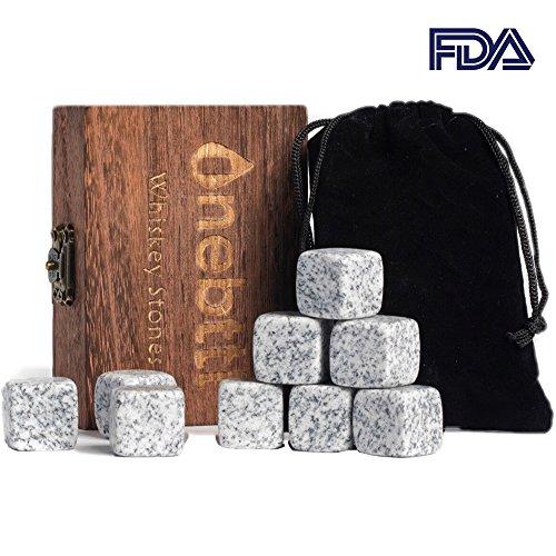 Whisky Steine Aus Natürlichem Granit Zum Kühlen Von Whiskey Geschenke Für Whiskyliebhaber - Wiederverwendbare Eiswürfel - Weihnachten Whiskyzubehör - Kühlwürfel - Erntedankfest Bar Accessoires