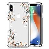 iPhone X Hülle, Spigen® [Liquid Crystal] Kirschenblüte Muster [Blossom Nature] Qi-kompatibel TPU...