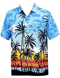 La Leela aloha bouton coupe décontractée classique chemise à manches courtes vers le bas hawaïen pour les hommes xs bleu - 5xl