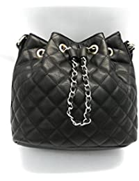 Women'S Quilted Bucket Faux Leather Handbag With Chain Detail Black By Mossimo