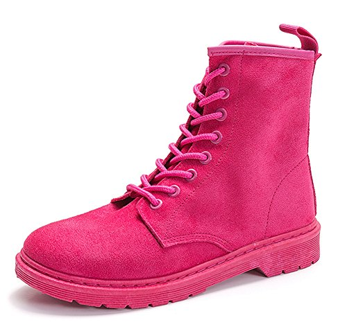Aisun Femme Mode Motards à Lacets Ranger Bottines Rouge