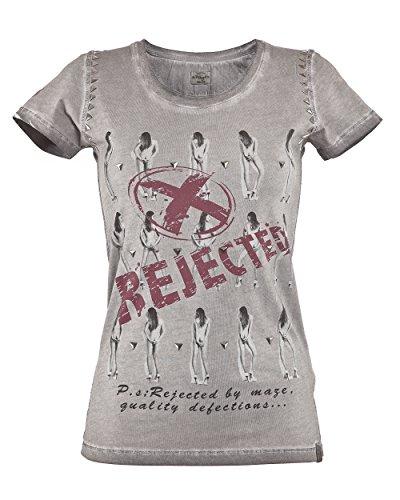 MAZE Damen, Shirt MSH1-53-07 T-Shirt tailliert Frauenmotiv Nieten grau pink S-XL Grey