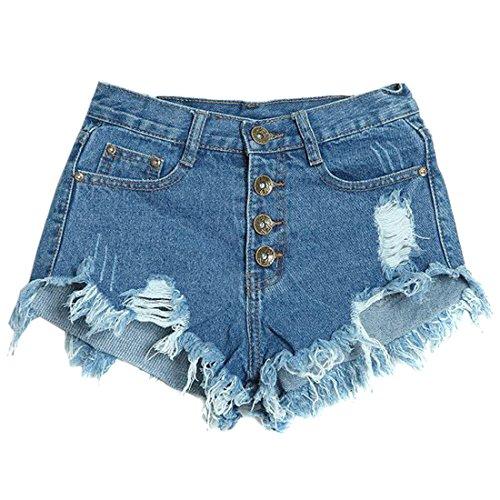 QIYUN.Z ete Trous De Couleur Unie Denim Femmes Court Bouton De Hot Pants Shorts Occasionnels Bleu Fonce