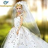 X-DAAO Wunderschönes Prinzessinnen-Kleid mit Pailletten-Neckholder Schleier Hochzeit Party Maxikleid für 29 cm Puppen