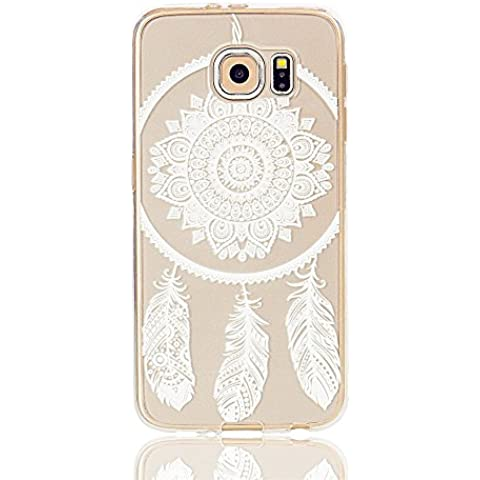TKSHOP Custodia TPU Silicone Gel Morbido Flessibile Per Samsung Galaxy S7 Edge Caso Case Cover Trasparente Shock-Absorption Anti-Scratch Bello modello Dipinto - piume indiane - Anello Perla Indiana