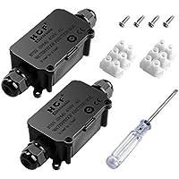 MiMoo IP66 resistente al agua al aire libre caja de derivación con 2 cable PG9 Glándula plástico conector Caja de derivación para cable de diámetro 4 - 8 mm (Pack de 2), negro