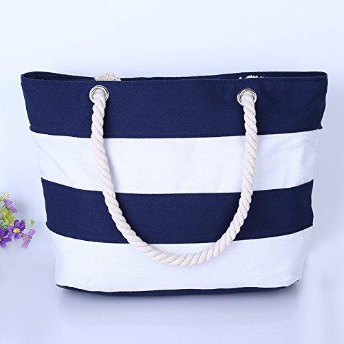 GUMO-Borsa da spiaggia, borsa di tela, tempo libero, borsa da viaggio, unica borsa a tracolla, borsetta,nero Blue