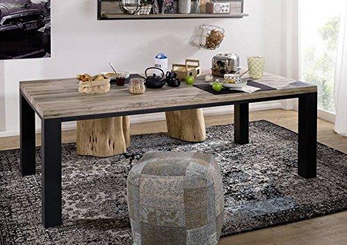 Table à manger 220x100cm - Métal et Bois massif de chêne sauvage huilé (Bianco) - VILLANDERS #220