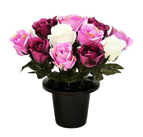 SF Künstliche Lila & Creme Offene Rose Grabschmuck mit 16Flowers-Vase, Einsatz Memorial