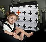 Simply Good Car Sunshade Tendine Parasole per Auto per Bambino 100% Cotone con protezione dai raggi UV (Mama Plus nero su bianco)