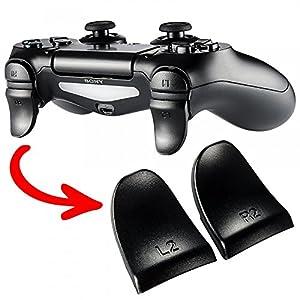 eXtremeRate 2 Paar PS4 Trigger Tasten L2 + R2 Buttons Schultertasten Ersatzteile Zubehör Set für Playstation 4 PS4 Dualshock 4 JDM-001/011/040/050/055 Controller – Schwarz