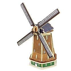 Creative Assemble Puzzle Toys Child Early Education Wooden 3 D Puzzle Building Dutch Windmills