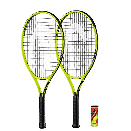 "HEAD Extreme Junior 2 x Tennisschläger + 3 Balls and Protective Covers (Größe 19""-26"" (25"")"