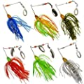 JSHANMEI ® 18.4g/0.64oz Fishing Lures Kit Saltwater Hard Bait Spinner Bait with Silicone Skirts Willow Blade Spinnerbait Pike Bass Hand Holographic Painted Blades for Saltwater Fishing by JSHANMEI