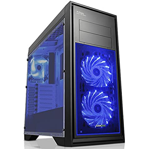 Game Max Scocca Titan per PC da gaming nero Blue Fan (Rivestimento Di Raffreddamento Fan)