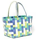 MULTICOLOUR Trend Tasche Korbtasche Flechttasche Flechtkorb Strandtasche Strandkorb Shopper Big Bag geflochten Kunststoff BLUE GREEN