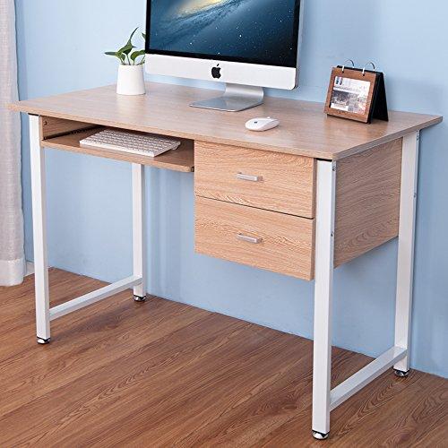 LIFE CARVER Oak Compact PC Desk Computer desk Home Office tavolo di studio Laptop Table Computer Desk con 2 cassetti