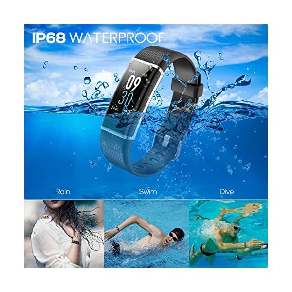 CHEREEKI Pulsera Actividad, Pulsera de Actividad Inteligente Frecuencia Cardíaca Monitor, IP68 Impermeable Pantalla… 2