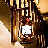 Reeseiy Retro Wand Lampe Petroleum Lampe Laterne Restaurant Balkon Schlafzimmer Dekoriert Treppe Bambus Wand Wandleuchte (Color : Colour-Size)