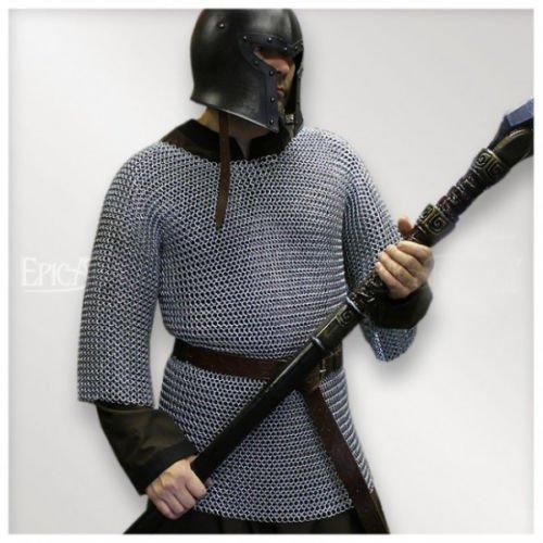 Kostüm Shirt Chainmail - NASIR ALI Aluminium Chainmail Shirt konifizierte Mittelalter Kettengeflecht Haubergeon Armour Kostüme