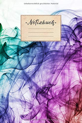 Notizbuch: DIN A5 Format, 100 linierte Seiten, glänzendes Softcover-Design, weißes Papier | Notizheft - Tagebuch - Journal - Planer | Cover: Bunter Rauch Weiß Elegant