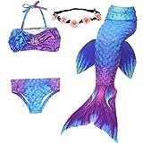 UrbanDesign Traje De Baño Disfraz Cola De Sirena Niña con Bikini para Nadar, 5-6 años, Espacio Morado