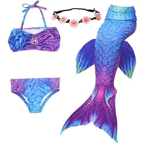 UrbanDesign Meerjungfrau Bademode Mädchen Meerjungfrau Badeanzug Schwanzflosse Zum Schwimmen Kostüm Für Kinder, 7-8 Jahre, Raum Lila