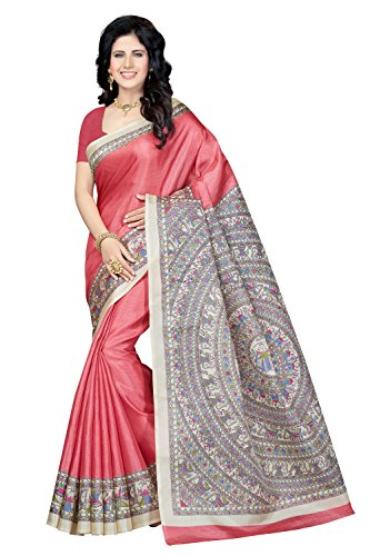 Rani Saahiba Women's Art Bhagalpuri Silk Saree With Blouse Piece (Skr3317, Pink,...